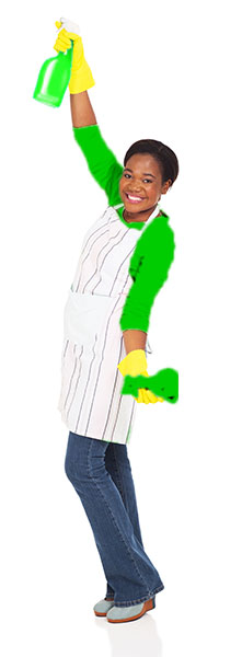 Woman in green shirt wearing cleaning gloves, holding spray bottle