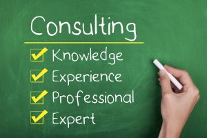 Consulting knowledge experience professional expert words on chalkboard
