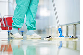 Mopping hospital floor