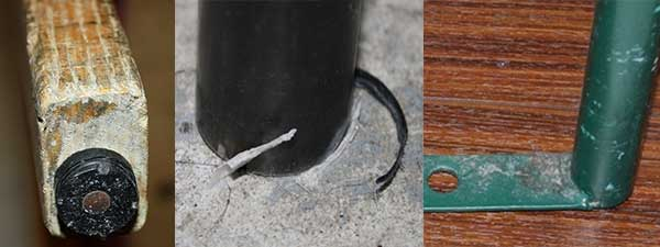 Pertruding Nails, Ripped Plastic and Exposed Metal on Furniture Legs will Damage Flooring.